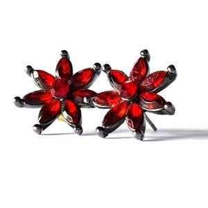 Stunning Red Stone Flower Earrings